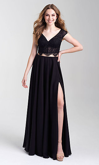Cap-Sleeve Lace-Top Two-Piece Long Prom Dress