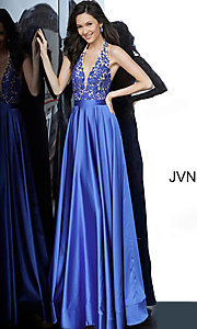 Image of long halter JVN by Jovani royal blue prom dress. Style: JO-JVN-JVN00927 Front Image