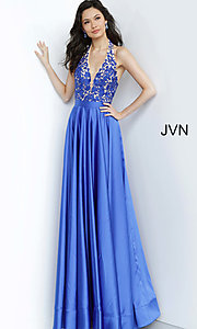 Image of long halter JVN by Jovani royal blue prom dress. Style: JO-JVN-JVN00927 Detail Image 1