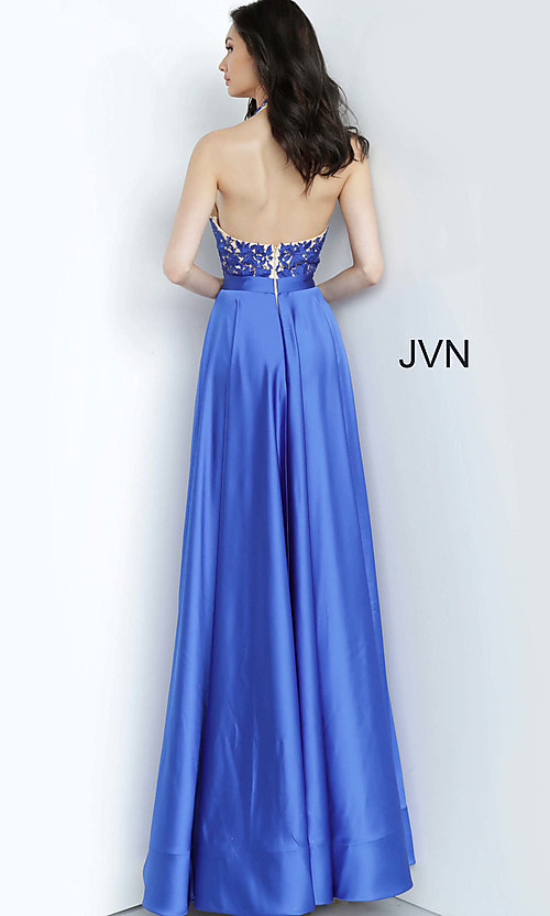 Image of long halter JVN by Jovani royal blue prom dress. Style: JO-JVN-JVN00927 Back Image
