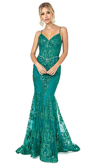 Long Sequined and Beaded Mermaid-Style Prom Dress