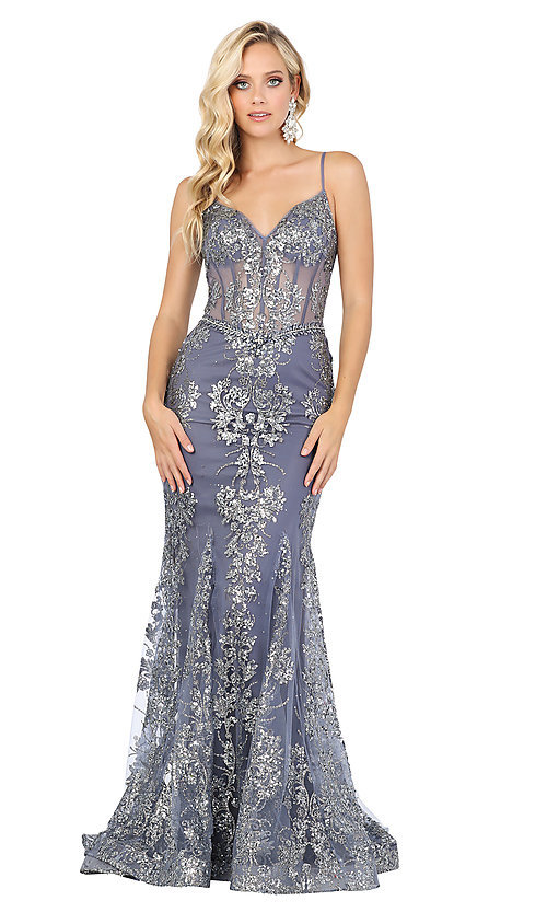 Image of long sequined and beaded mermaid-style prom dress. Style: DQ-4118 Detail Image 3