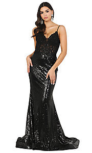 Image of sequin prom dress with sheer embroidered bodice. Style: DQ-4066 Detail Image 1
