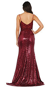 Image of sequin prom dress with sheer embroidered bodice. Style: DQ-4066 Back Image