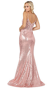 Image of sequin prom dress with sheer embroidered bodice. Style: DQ-4066 Detail Image 4