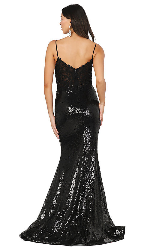 Image of sequin prom dress with sheer embroidered bodice. Style: DQ-4066 Detail Image 2