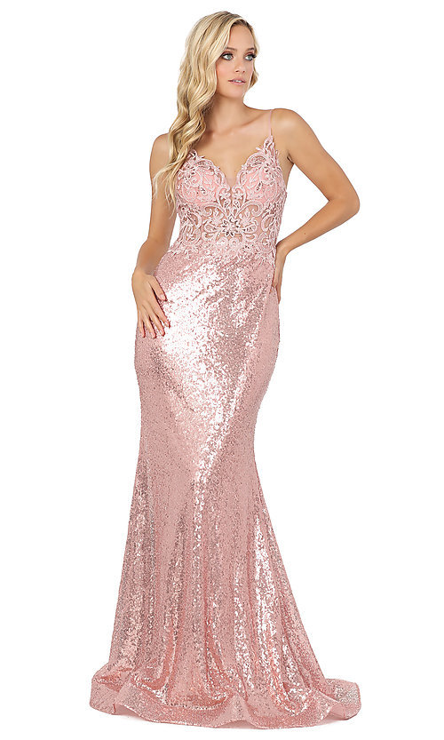 Image of sequin prom dress with sheer embroidered bodice. Style: DQ-4066 Detail Image 3
