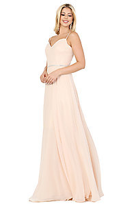 Image of classic a-line prom dress with beaded waist. Style: DQ-4030 Detail Image 5