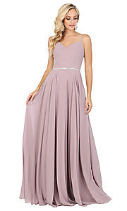 Image of classic a-line prom dress with beaded waist. Style: DQ-4030 Detail Image 6