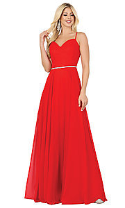 Image of classic a-line prom dress with beaded waist. Style: DQ-4030 Detail Image 1