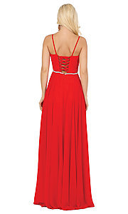 Image of classic a-line prom dress with beaded waist. Style: DQ-4030 Detail Image 2