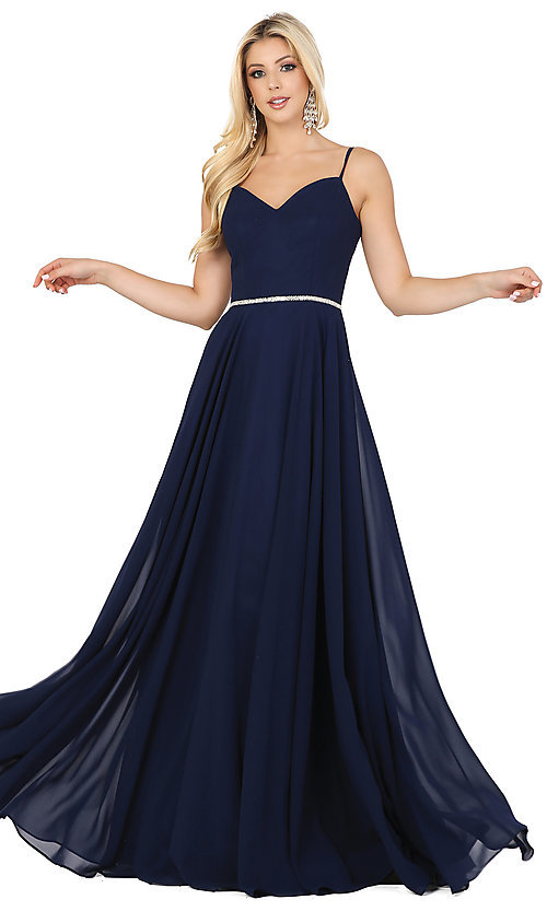 Image of classic a-line prom dress with beaded waist. Style: DQ-4030 Front Image