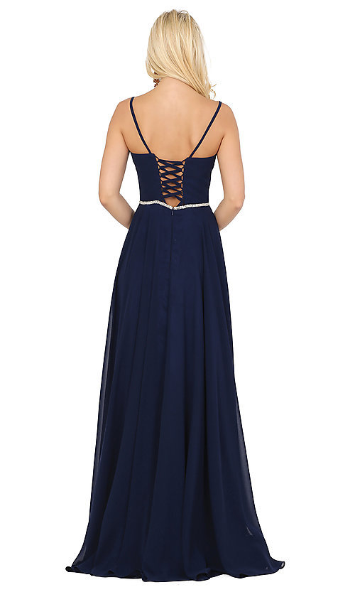 Image of classic a-line prom dress with beaded waist. Style: DQ-4030 Back Image