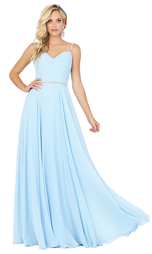 Image of classic a-line prom dress with beaded waist. Style: DQ-4030 Detail Image 3
