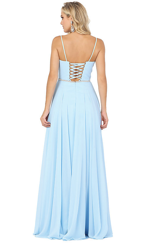 Image of classic a-line prom dress with beaded waist. Style: DQ-4030 Detail Image 4