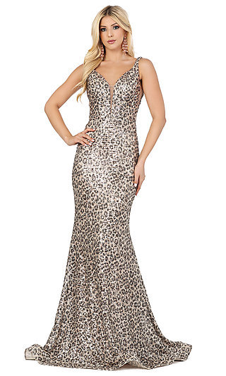 Long Sequin Leopard Print V-Neck Prom Dress