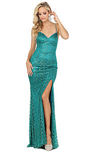 Image of long formal sequin prom dress with lace-up corset. Style: DQ-2898 Detail Image 3