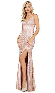 Image of long formal sequin prom dress with lace-up corset. Style: DQ-2898 Detail Image 1