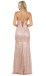 Image of long formal sequin prom dress with lace-up corset. Style: DQ-2898 Detail Image 2