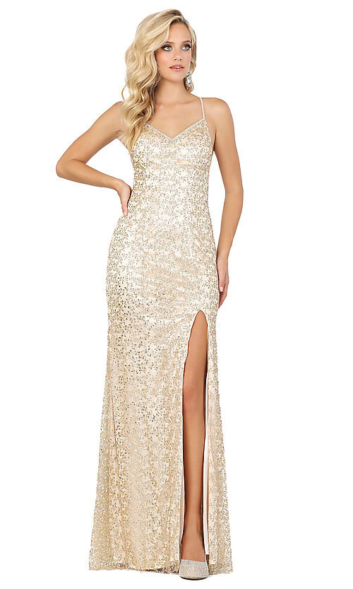 Image of long formal sequin prom dress with lace-up corset. Style: DQ-2898 Front Image