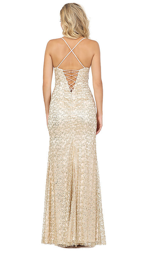 Image of long formal sequin prom dress with lace-up corset. Style: DQ-2898 Back Image