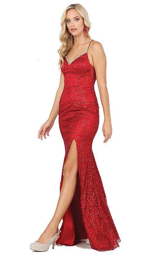 Image of long formal sequin prom dress with lace-up corset. Style: DQ-2898 Detail Image 4