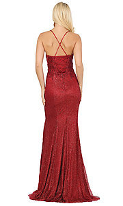 Image of sparkly long formal prom dress with embroidery. Style: DQ-2896 Back Image