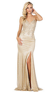Image of sparkly long formal prom dress with embroidery. Style: DQ-2896 Detail Image 1