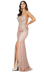 Image of sparkly long formal prom dress with embroidery. Style: DQ-2896 Detail Image 3