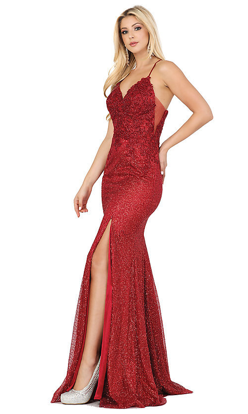 Image of sparkly long formal prom dress with embroidery. Style: DQ-2896 Front Image