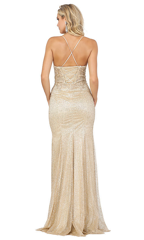 Image of sparkly long formal prom dress with embroidery. Style: DQ-2896 Detail Image 2