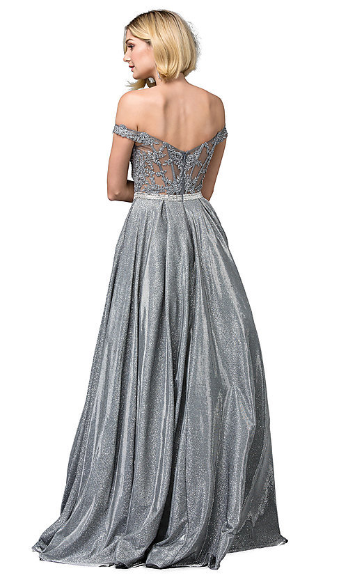 Image of sheer-back beaded-bodice long formal prom dress. Style: DQ-2820 Back Image