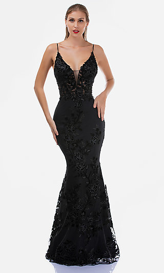 Long Mermaid-Style Embroidered V-Neck Prom Dress