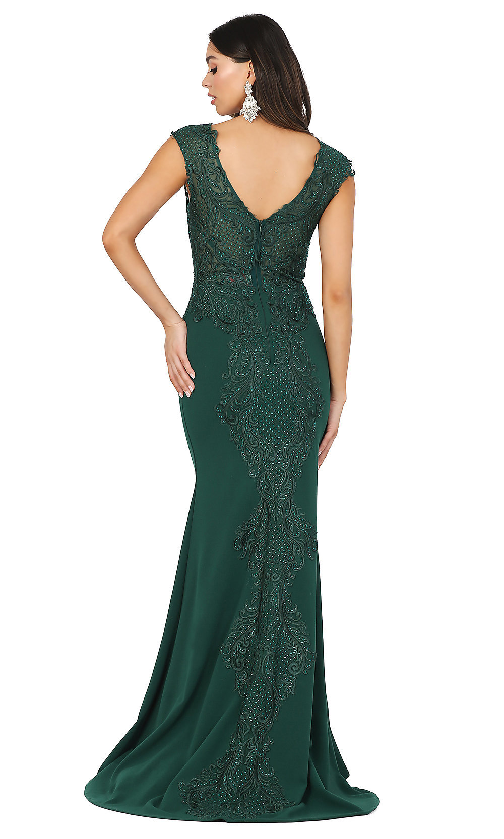 Long Bateau-Neck Prom Dress with a Sheer Bodice