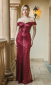 Image of long off-shoulder sequin prom dress with corset. Style: DQ-4109 Detail Image 2