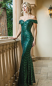 Image of long off-shoulder sequin prom dress with corset. Style: DQ-4109 Front Image