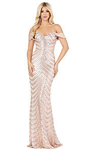 Image of long off-shoulder sequin prom dress with corset. Style: DQ-4109 Detail Image 3