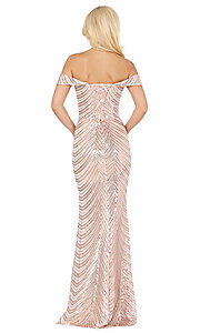 Image of long off-shoulder sequin prom dress with corset. Style: DQ-4109 Detail Image 4