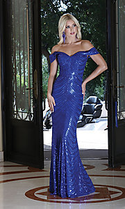 Image of long off-shoulder sequin prom dress with corset. Style: DQ-4109 Detail Image 1