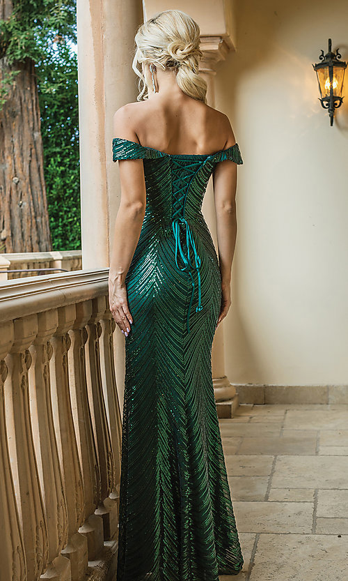 Image of long off-shoulder sequin prom dress with corset. Style: DQ-4109 Back Image