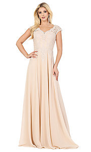 Image of embroidered-cap-sleeve long formal prom dress. Style: DQ-4122 Front Image