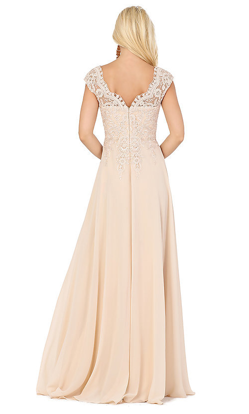 Image of embroidered-cap-sleeve long formal prom dress. Style: DQ-4122 Back Image