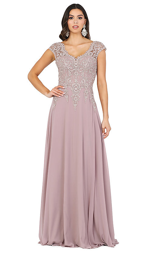 Image of embroidered-cap-sleeve long formal prom dress. Style: DQ-4122 Detail Image 1