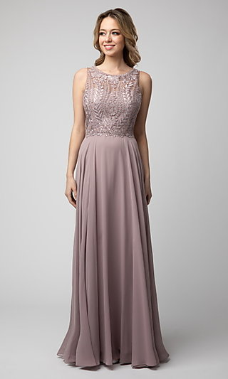 Long Shail K Prom Dress with Embroidered Bodice