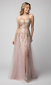 Image of corset-back long beaded prom dress by Shail K. Style: SK-936 Front Image