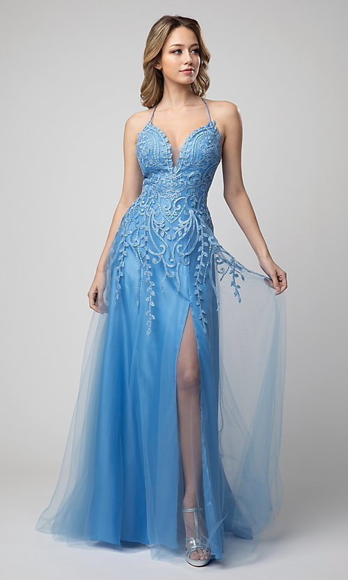 Image of corset-back long beaded prom dress by Shail K. Style: SK-936 Detail Image 2
