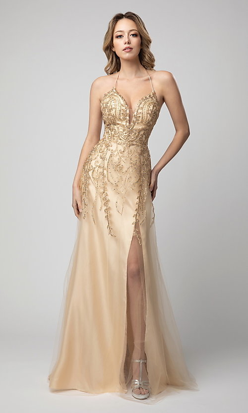 Image of corset-back long beaded prom dress by Shail K. Style: SK-936 Detail Image 1
