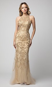 Image of embroidered high-neck Shail K long prom dress. Style: SK-948 Front Image
