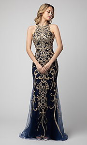 Image of embroidered high-neck Shail K long prom dress. Style: SK-948 Detail Image 1