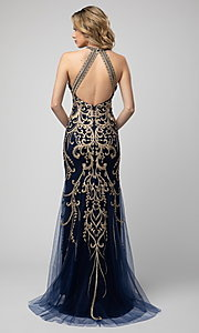 Image of embroidered high-neck Shail K long prom dress. Style: SK-948 Back Image